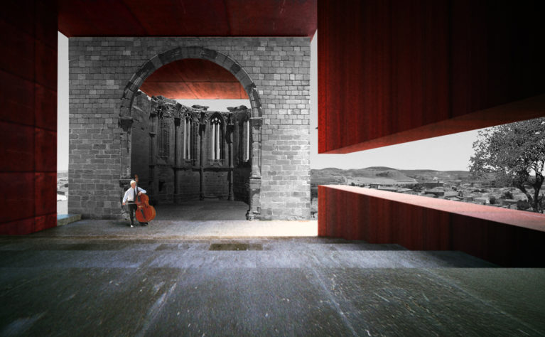 AQSO arquitectos office. Atienza music hall, nave, auditorium, apse, landscape, corten steel, quiet, viewpoint, remains