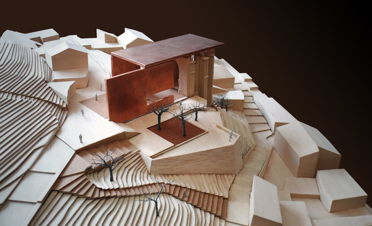 AQSO Atienza music hall, physical model made in balsa wood or basswood, contour lines, 3D terrain, wire trees, copper