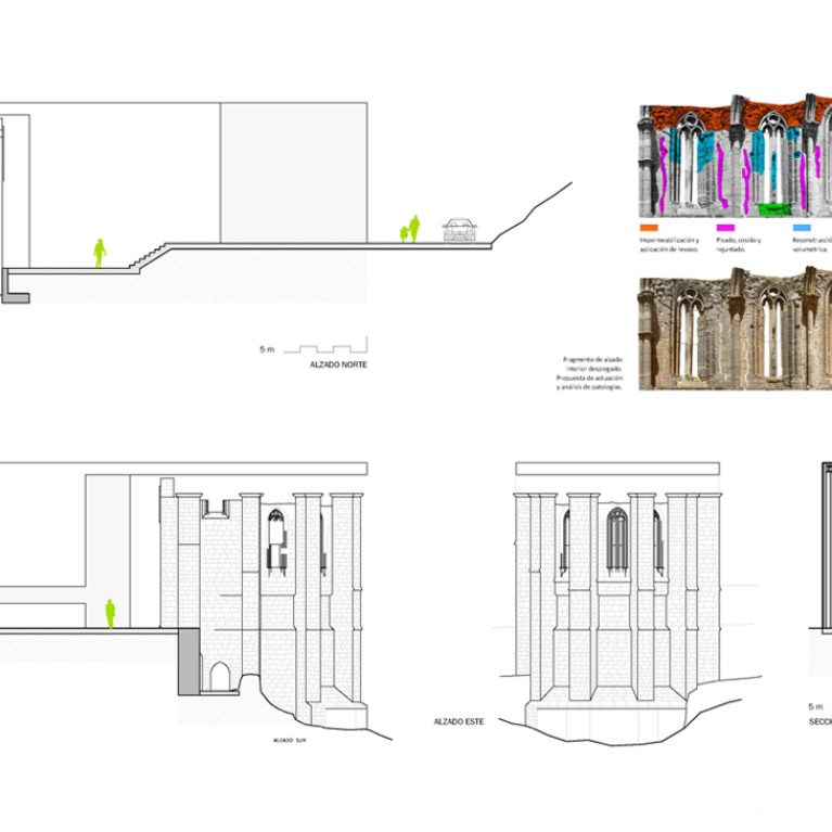 AQSO arquitectos office, Atienza music hall, restoration, plans, sections, elevations, pathology analysis