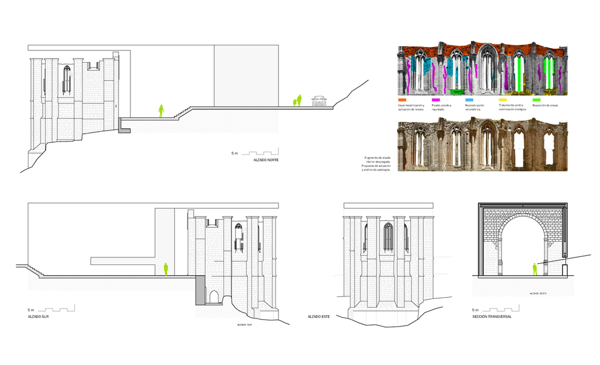 AQSO Atienza music hall, restoration, plans, sections, elevations, pathology analysis