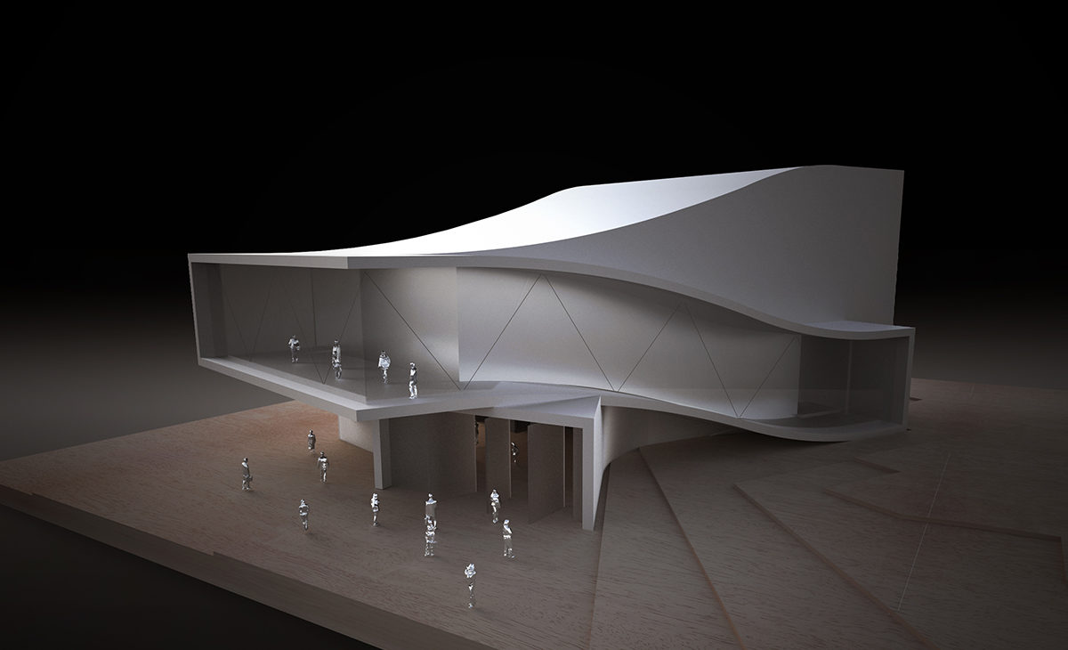 AQSO, auditorium, physical model, aluminium, curve, futuristic design, organic, timber
