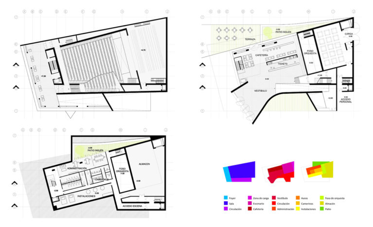 AQSO arquitectos office. The floor plan of the auditorium shows the access points, the loading area, the stage, the main foyer, the cafeteria, an administrative area and the orchestra pit in the basement.