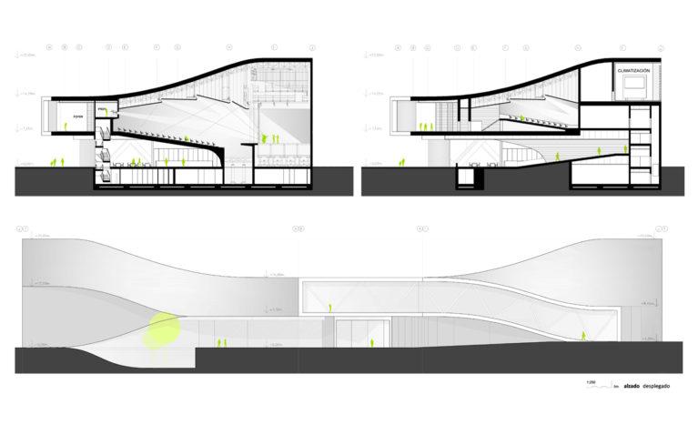 AQSO arquitectos office. La sección del auditorio muestra el aspecto de la sala de conciertos, el techo acústico, el peine, el escenario, la platea y el foso de la orquesta. Todo ello está envuelto en una piel ondulada de hormigón blanco.