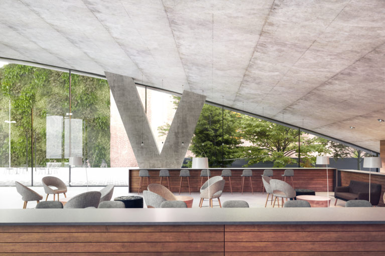 AQSO arquitectos office, entrance lobby, fixed furniture, lounge area, garden, transparency, concrete ceiling, dark timber, public space, reception, auditorium, vertical garden, outdoor terrace