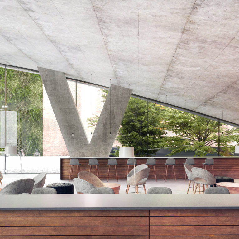 AQSO arquitectos office, entrance lobby, fixed furniture, lounge area, garden, transparency, concrete ceiling, dark timber, public space, reception, auditorium, vertical garden, outdoor terrace