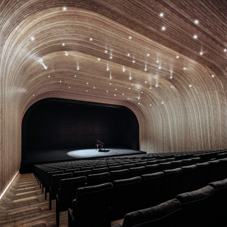 AQSO arquitectos office. Folded auditorium, interior design, acoustic walls, piano on stage, timber shell, illuminated stairs, comfy stalls, neat design, amazing interior, cool design