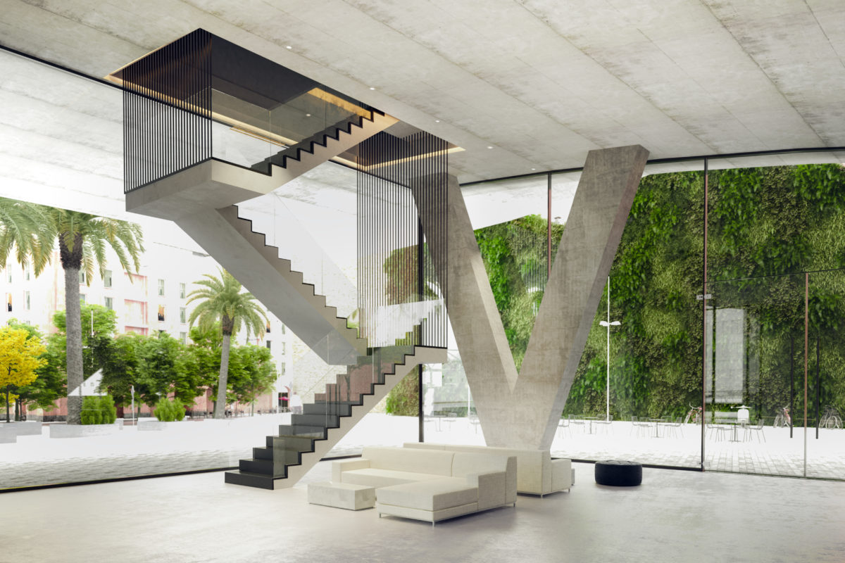 aqso arquitectos office, suspended staircase, waiting area, glazing, structural v column, suspended concrete slab, metal cable, concrete floor, foyer, auditorium lobby, vertical garden