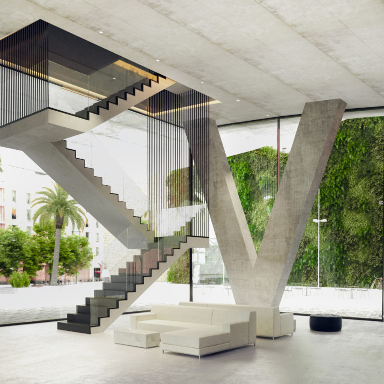 AQSO arquitectos office. Suspended staircase, waiting area, glazing, structural v column, suspended concrete slab, metal cable, concrete floor, foyer, auditorium lobby, vertical garden
