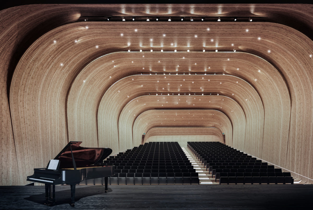 aqso arquitectos office, folded auditorium, illumination ceiling like stars, timber shell, overlapping wooden wrap, acoustic ceiling, stage view, emergency exits