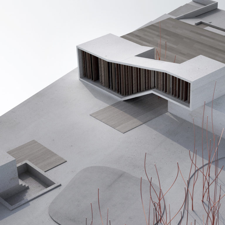 AQSO arquitectos office, architectural physical model of the Burke house, showing the extension and the landscape design