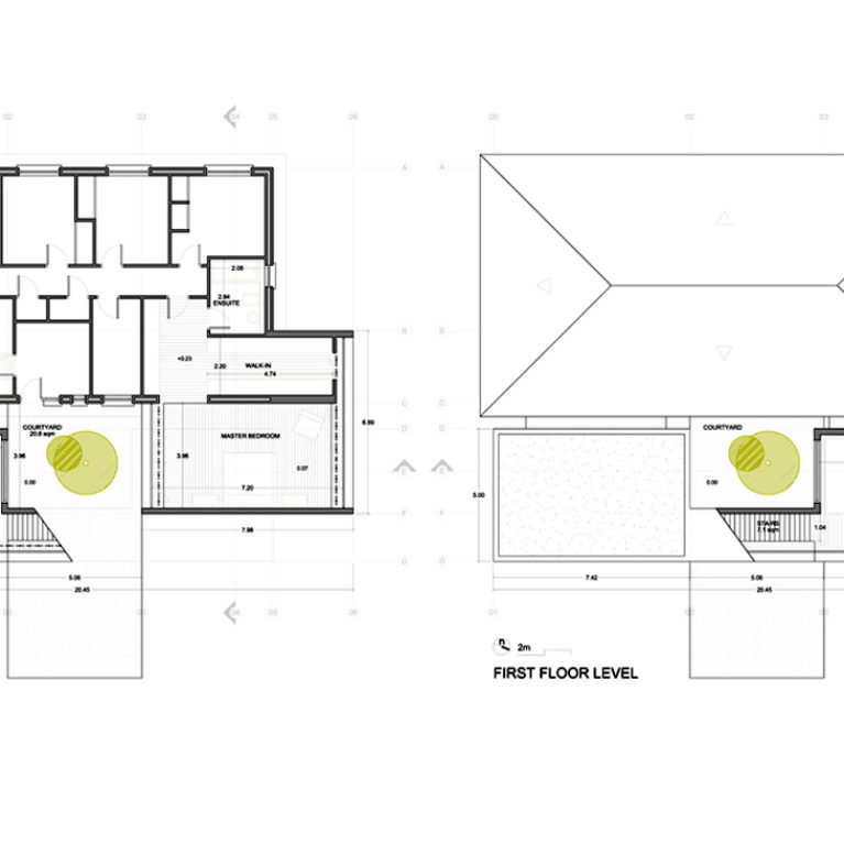 AQSO arquitectos office, Burke house, drawings, construction, dimensions, distribution plans, roof plan