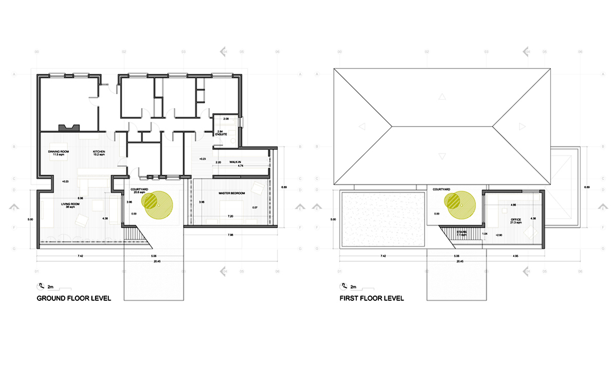 AQSO Burke house, drawings, construction, dimensions, distribution plans, roof plan