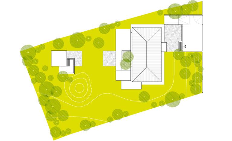 AQSO arquitectos office. Burke house. Planta de situación de la vivienda y la ampliación hacia el oeste. La puerta de entrada, la casa y el pabellón con jacuzzi.