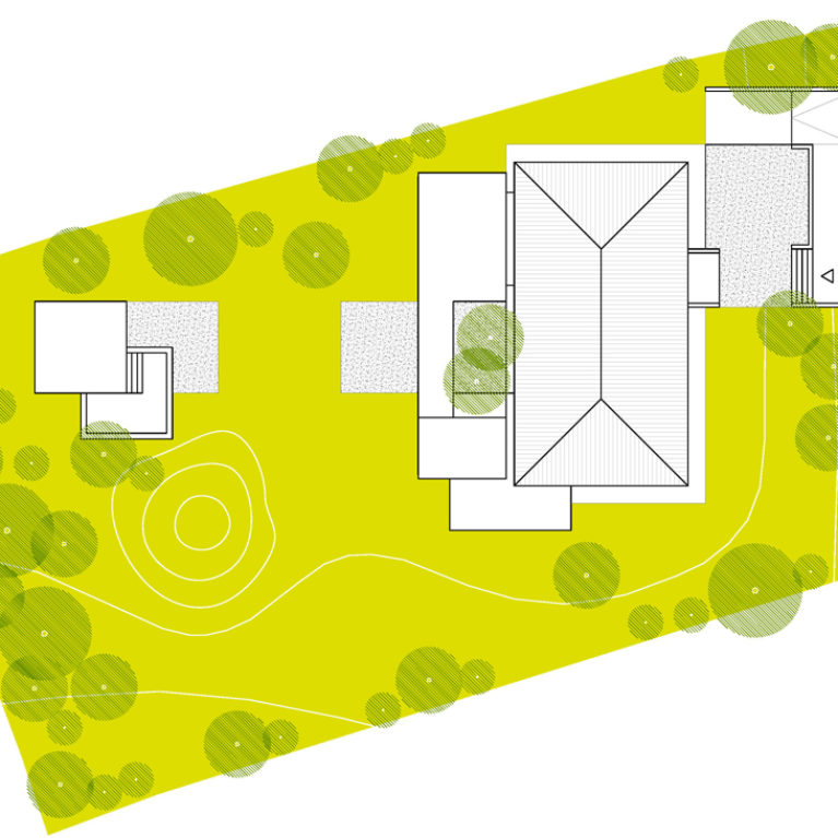 AQSO Burke house, site plan, colored plan, contour lines, roof, technical drawing
