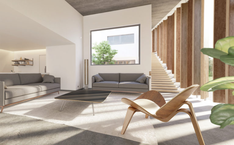 AQSO Burke house living room, timber louvers, grey sofas, modern interior, open kitchen, sunlight, big glazing, residential, courtyard house, lounge area