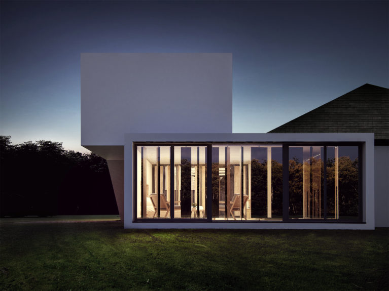 AQSO Burke house, detail, facade, louvers, windows, glass facade, curtain wall, night view, garden, rotating blades, modern design
