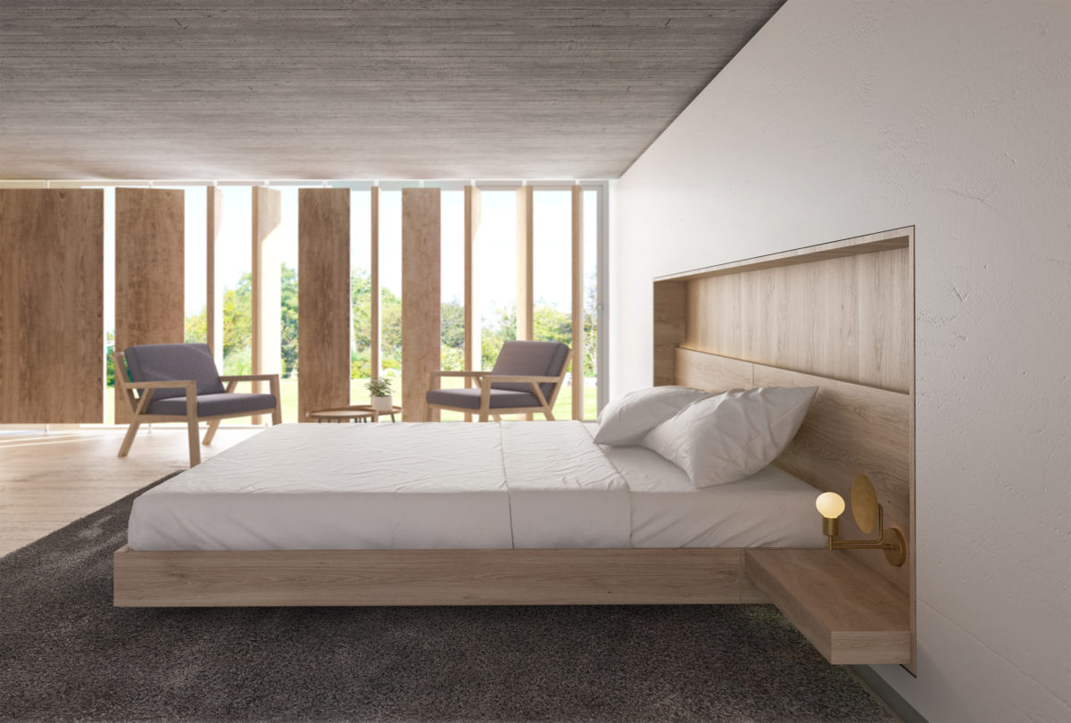 AQSO Burke house wooden floor concrete ceiling recessed headboard, bedhead, master bedroom, timber bed, seating area, louvers