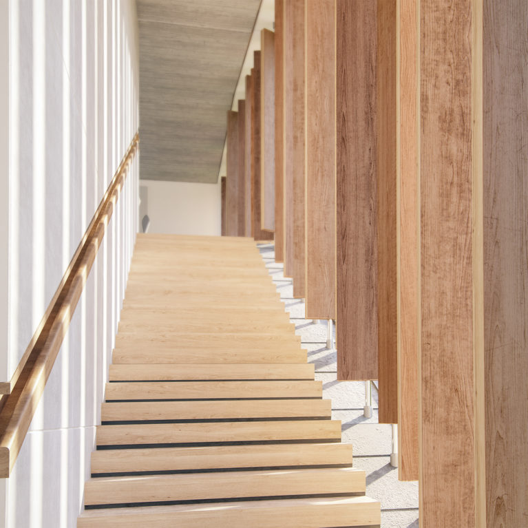 AQSO arquitectos office, Burke house, staircase, glazed facade, integrated and recessed handrail, timber louvers, rotating blades, concrete ceiling