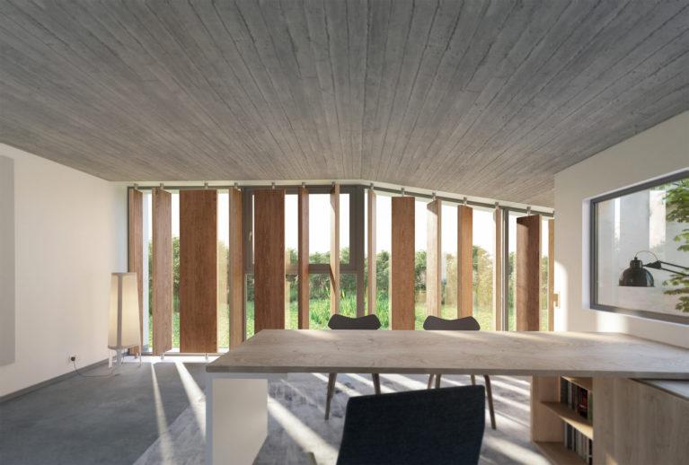 AQSO arquitectos office, casa Burke, espacio de oficina, estudio con vistas, despacho, mesa de trabajo, escritorio, patio, lamas de madera, privacidad, control del sol, suelo de cemento pulido
