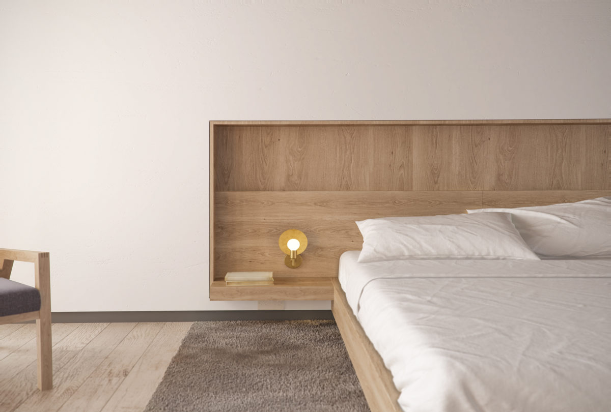 AQSO arquitectos office, Burke house, bedroom, integrated bedhead, timber fixed furniture, oak side bed, light fitting, grey rug indirect illumination, interior design