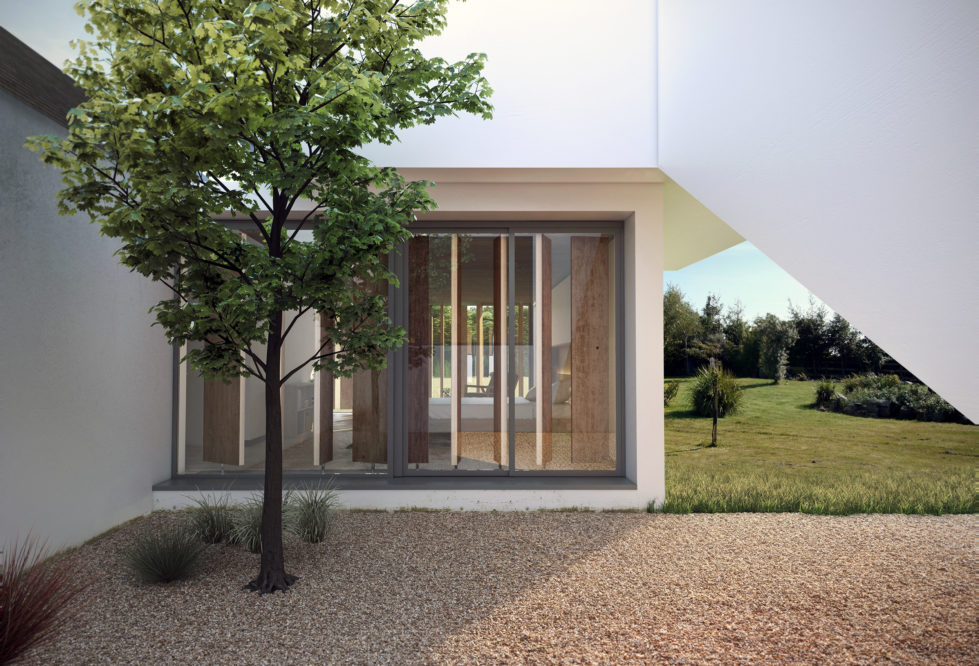 AQSO arquitectos office, Burke house, courtyard, evergreen tree, gravel, sliding window, wooden louvers, green landscape, white rendered wall, modern design, transparency
