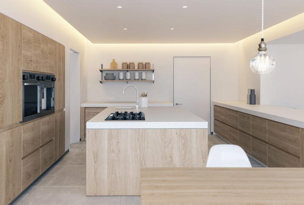 AQSO arquitectos office, Burke house, open kitchen, integrated fridge, kitchen island, recessed hood, minimal design, recessed lighting, downlights, corian countertop, silestone