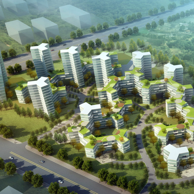 AQSO arquitectos office. The buildings occupy the plot in a hexagonal pattern. The hotel towers and offices are located in the north, while the urban density descends towards the south.