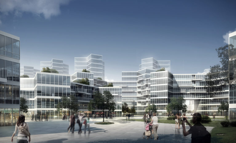 AQSO elemental complex, facade, glass, horizontal slabs, public square, courtyard