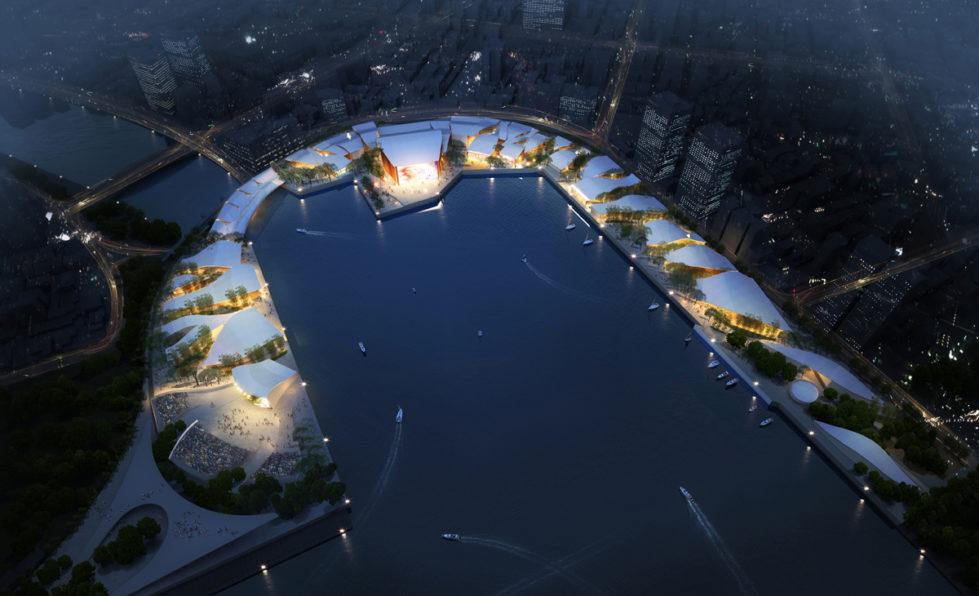 AQSO Kaoshiung performing arts center, port, bay, radial streets, organic roof, night view, bird view, marina, waterfront