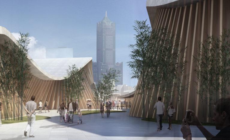 AQSO arquitectos office. Edificio de cubiertas onduladas de hormigón y paredes serpenteantes de lamas de madera. El paseo peatonal que conduce a la marina tiene jardines de bambú.