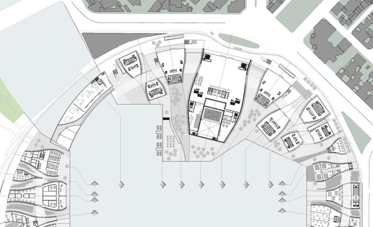 AQSO arquitectos office. The floor plan of the performing arts centre shows how the auditorium and rehearsal hall buildings surround the Kaoshiung Sea Bay.