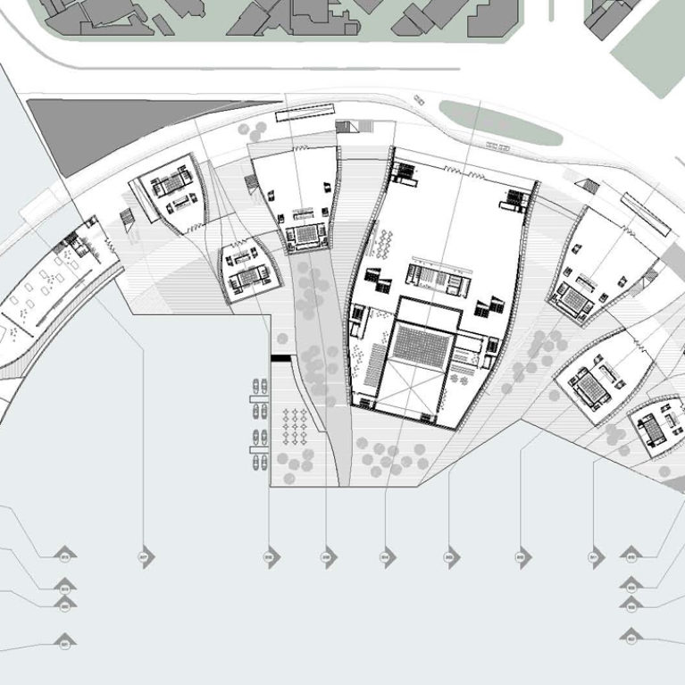 AQSO arquitectos office. La planta del centro de artes escénicas muestra como los edificios dedicados a auditorios y salas de ensayo rodean la bahía marítima de Kaoshiung.