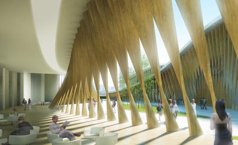 AQSO Kaoshiung performing arts center, twisted wood louvers