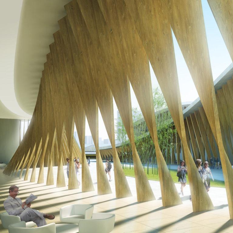 AQSO arquitectos office. Cafetería del centro de artes escénicas. La fachada ondulada está formada por lamas de madera retorcidas que forman un faldón dinámico y protector.