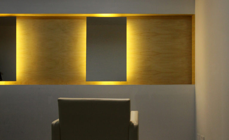AQSO W Salon, wooden strip, floating mirror, warm light