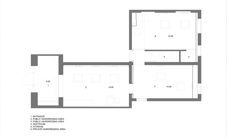 AQSO arquitectos office. The floor plan of this hairdressing salon shows the main salon, the private rooms and the toilets.