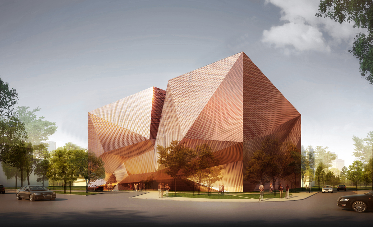AQSO Xu Beihong foundation, exterior view, metal, facade, sharp edges, deployee metal, perforated mesh, copper, bronze color