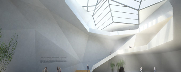 AQSO Xu Beihong foundation, interior atrium, skylight, white concrete walls