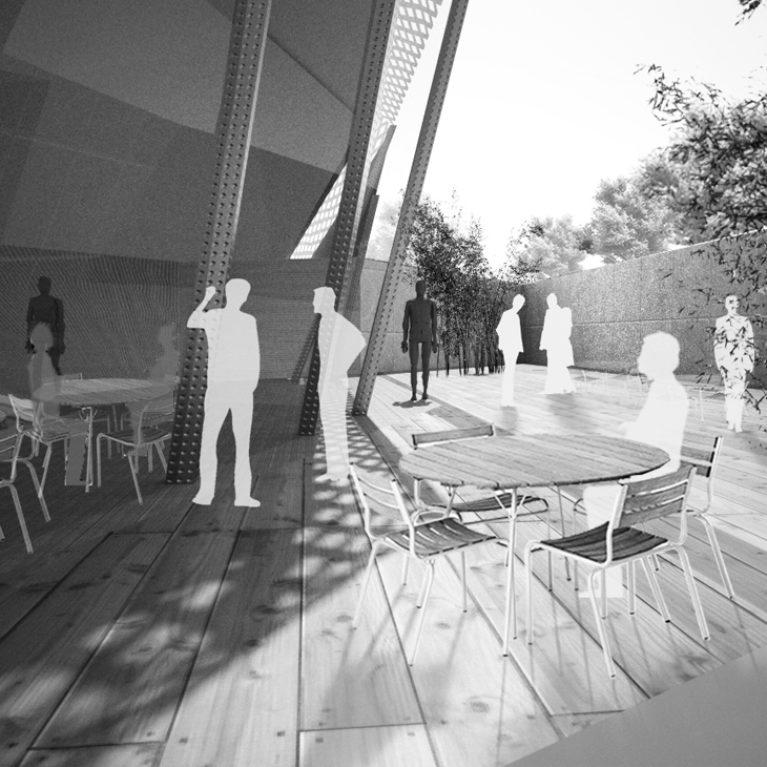 AQSO arquitectos office. En la parte superior del edificio se accede a la terraza, un espacio donde culmina el recorrido por las salas de exposiciones, donde el visitante puede disfrutar del entorno natural donde se sitúa el museo.