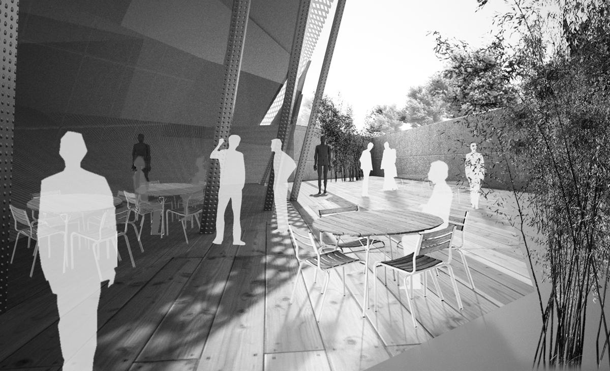 AQSO Xu Beihong foundation, roof terrace, perforated steel