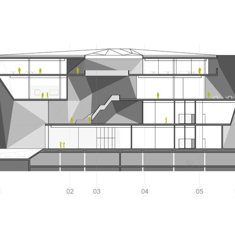 AQSO arquitectos office. La sección del museo permite apreciar el atrio central de la planta primera, cubierto por el lucernario y las diferentes salas de exposiciones.