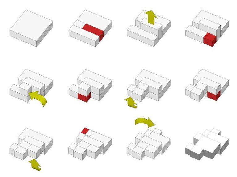 AQSO arquitectos office. Diagrama conceptual, casa fragmentada, proceso creativo, transformaciones de volumen, idea generativa