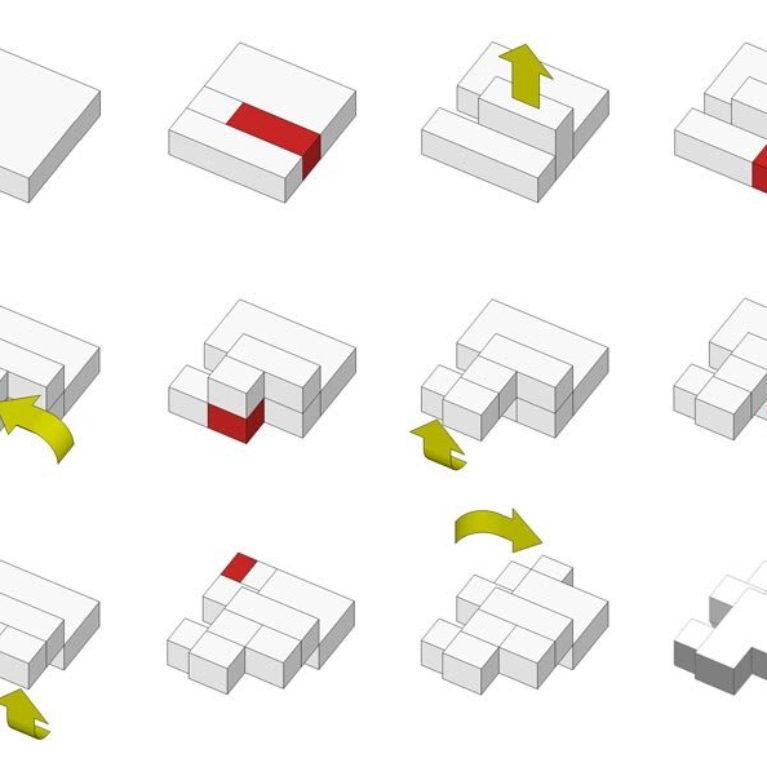 AQSO arquitectos office. Conceptual diagram, fragmented house, creative process, volume transformations, generative idea