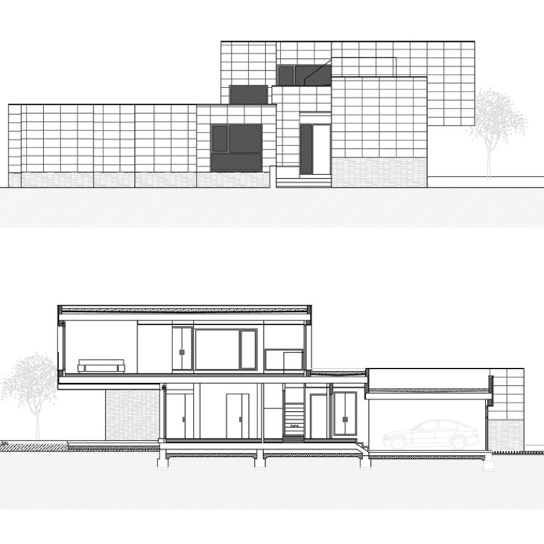 AQSO arquitectos office. The elevation and section of the house show its contemporary form with a flat roof and volumes superimposed in height.