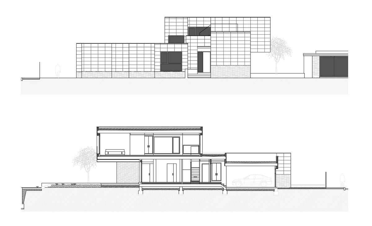 AQSO fragmented house, elevation and section