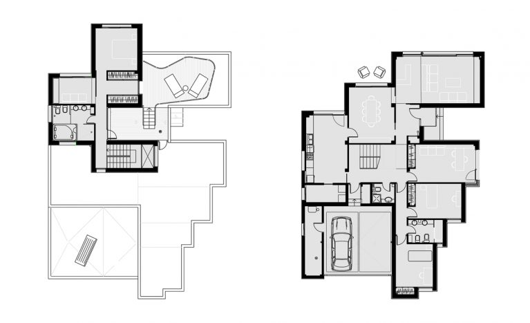 AQSO arquitectos office. The ground floor of the house has a living room, kitchen, an office and two bedrooms. On the upper floor is the master bedroom and the solarium.