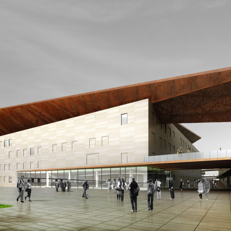 AQSO Industrial museum entrance, corten steel structure, perforated steel