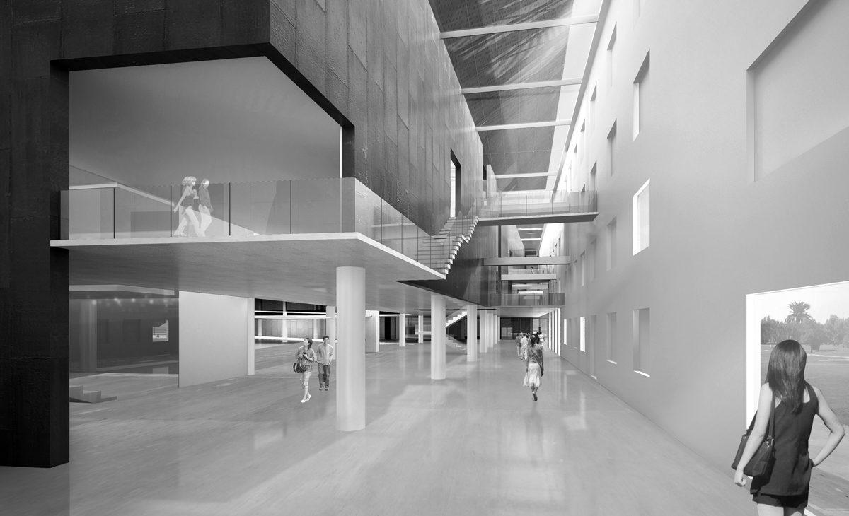 AQSO Industrial museum, interior, atrium, facade restoration