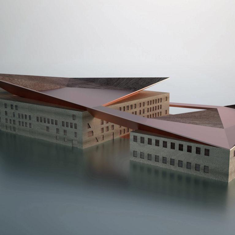 AQSO Industrial museum, physical model, balsa wood, copper, aluminium, restored building, roof terrace