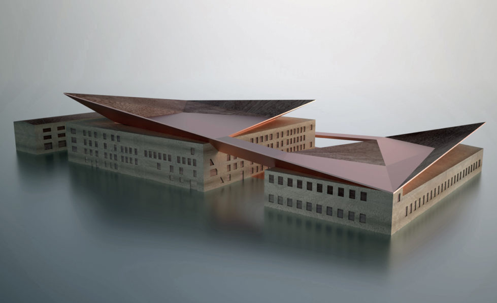 AQSO Industrial museum, physical model, balsa wood, copper, aluminium, restored building, roof terrace